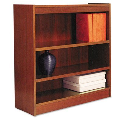 Square Corner Wood Veneer Bookcase, 3-Shelf, 35-3/8 x 11-3/4 x 36, Medium Cherry