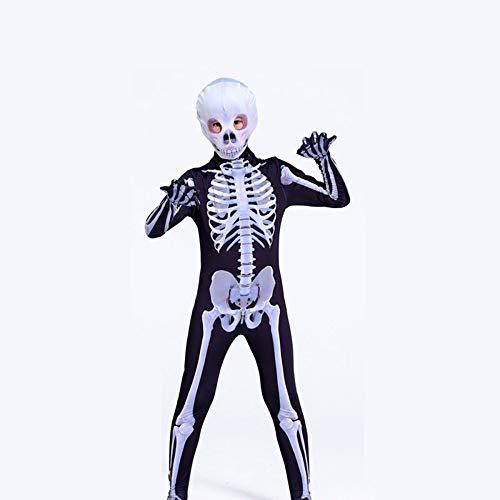 BLOIBFS Skelett Kostüm Kostüm Jungen Verkleidung Kostüm Scary Halloween Kostüm Fasching Kostüme Für Kinder Cosplay Kostüm Weihnachten Skelett Kostüm Kostime Herren,Child-140CM (Jungen Für Halloween-kostüm Scary)