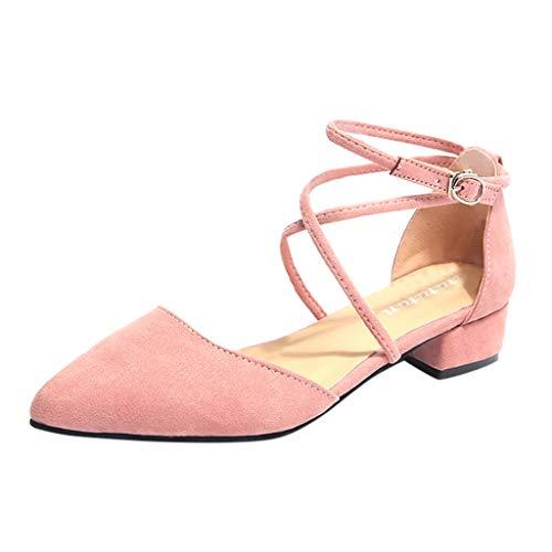 Mukluk Slipper Stiefel (MRULIC Damen Straps Sandalen Pumps Spitz Heel Kleid Party Pumps Schuhe Arbeitsschuhe Quadratische Fersensandalen Mittlere Fersenschuhe(Rosa,EU-37/CN-38))