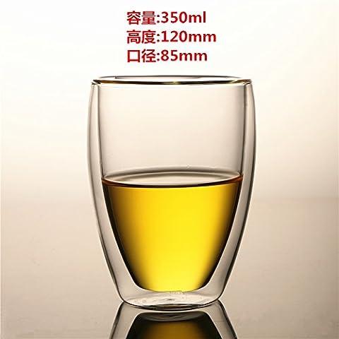 double verre transparent, tasse de thé, jus de fruit tasse, tasse à café latte pour la coupe,,350 ml (chi)