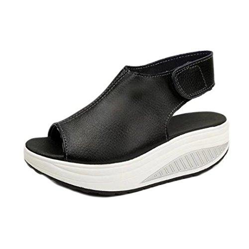 Beautyjourney sandali donna con zeppa estive elegant scarpe donna estive eleganti scarpe donna tacco medio sandali gioiello -donna estate sandali scarpe romane infradito (34, nero)