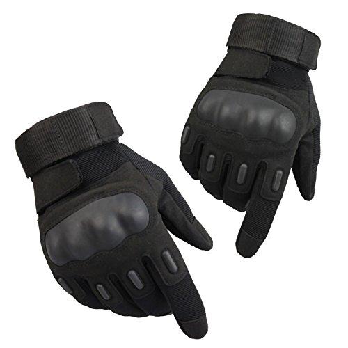 Tactical Gloves, Dito Completa Moto Guanti tattici Con Velcro (Black L) - Durevole Indice