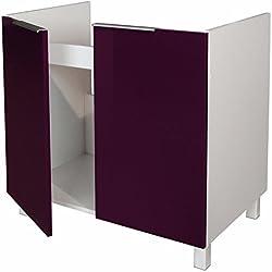 Berlenus CE8BA - Mueble bajo de Cocina (para situar Debajo de la Pila, 80 cm), Color Berenjena Brillante