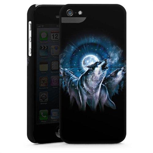 Apple iPhone 3Gs Housse étui coque protection Loups Nuit Lune CasStandup blanc