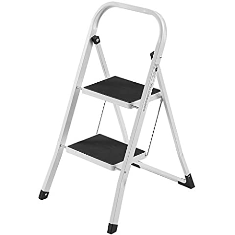 VonHaus Heavy Duty Steel Folding Portable 2 Wide Step Ladder / Stool with Gripped Tread Anti-Slip