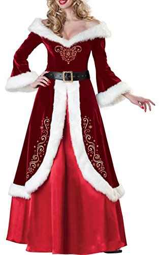 Outfit Golf Sexy (ZFANG Frohe Weihnachten Adult Elegant Christmas Dress Cosplay Set Kleid , red ,)