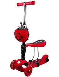 Profiseller Scooter para niños pequeños 3 en 1 con Asiento Desmontable - Scooter Desmontable Ajustable - Luces y manillares Ajustables bebés de 2 a 8 años (Rojo)