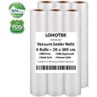 LOHOTEK Rollos para Envasadora Sellador de Vacío 6 Packs 20cmx300cm Bolsas Profesional para la Conservación de Alimentos Protector la Comida para Cocina