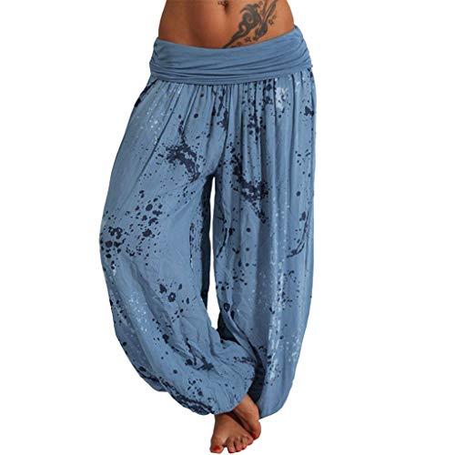 WOZOW Damen Bloomers Harem Hosen Freizeithose Boho Dye Splash Painting Print Lose Casual Lang Long Weites Bein Palazzo Pyjama High Waist Yoga Trousers Stoffhose (XL,Staubiges Blau) Dye Capri-hosen