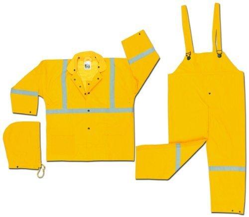 MCR Sicherheit 2403rx2Luminator PVC/Polyester 3-teilig Cord-Kragen Anzug mit abnehmbarer Kapuze und reflektierenden Material Tape, gelb, 2x große von MCR Sicherheit (Tape Kapuze)