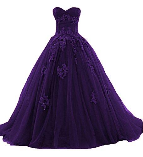 O.D.W Frauen Appliques Spitze Vintage Hochzeitskleider Formales Lange Gotisch Brautkleider(Violett,...