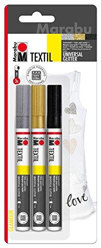 Marabu 0119000000080 - Textil Painter glitter, Stoffmalstifte für helle un dunkle Stoffe, auf Wasserbasis, Universalspitze mit Strichstärke ca. 3 mm, 3 Stifte in glitzer schwarz, silber und gold - Gold Glitter Scrapbooking