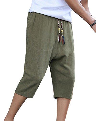 LaoZanA Herren Shorts 3 4 Hosen Casual Leinenhose Caprihose Baggy Freizeithose Strandhose Haremshose Mit Kordel Armeegrün XL