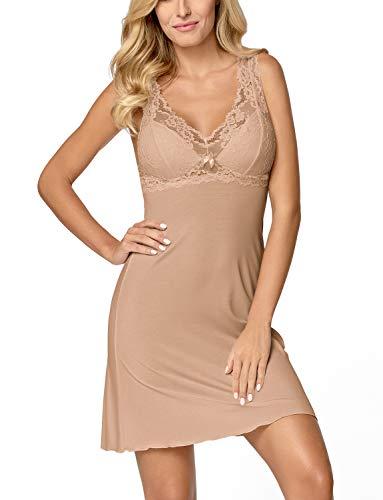 Nipplex Women's Bona Mocca Beige Embroidered Lace Night Gown Loungewear Nightdress 4XLarge Bow Moc