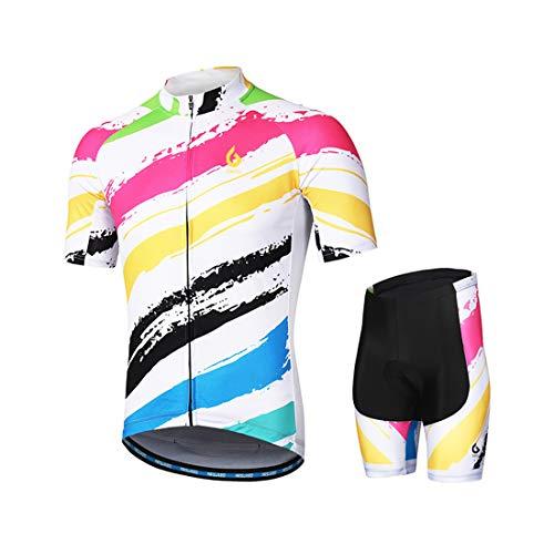 GWELL Herren Radtrikot Set Fahrrad Trikot Kurzarm + Radhose mit Sitzpolster Radsport-Anzüge Weiß-2 M