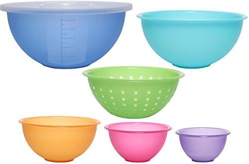 idea-station NEO juego de vaso de plástico de 7 piezas con tapa y tamiz, colorido, apilable, con apertura de agitación, perfecto para cocinar y hornear, tazones para mezclar, ensaladeras, cuencos, lavavajillas