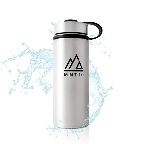MNT10 Edelstahl Trinkflasche 500ml I Premium Isolierflasche + Gratis Sportdeckel I Thermoflasche für Wandern, Büro, Sport, Fitness, Fahrrad, Schule, Outdoor (Stainless Steel)