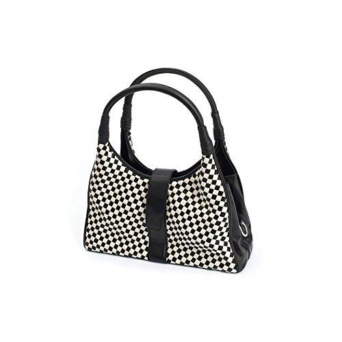 Lola Ramona Hanna Bianco e nero a scacchi borsa a tracolla, nero (Black), Taglia unica