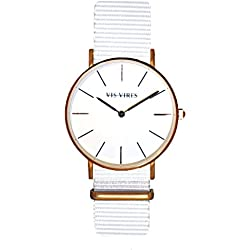 Vis Vires Mens Wentworth White Rose Gold Timepiece 40mm
