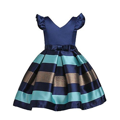 Land Kostüm Girl (Mädchen Kleider Kinder Kleider Longra Kinder Kurzarm Streifen Kleid Kinderbekleidung Kindermode Mädchen Brautjungfern Kleider Hochzeit Party Prinzessin Kleid Partykleid (Dark Blue, 120CM)