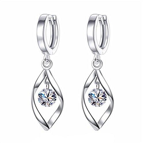 Dreamy Damen Zirkonia Clip Ohrringe 925 Sterling Silber Schleife Ohrringe Creolen Ohrstecker Ohrringe für Geschenk (ED5 AMZ)