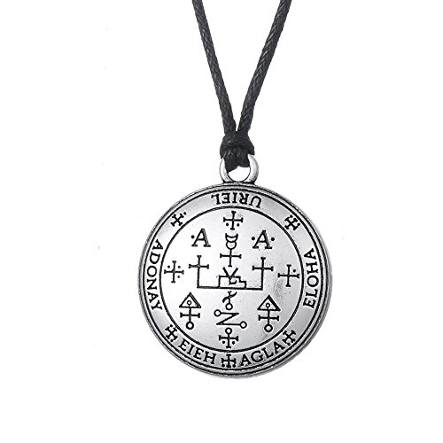 Fishhook Wicca The Sigil of the Archangel Uriel Fire of God Talisman Amulet - Collar con colgante