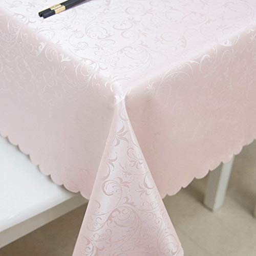 Gorkuor Tischdecke Tischdecke Wasserdicht Öl-Beweis Anti-Hot Tischdecke Couchtisch Tuch Rechteck Rundtisch Komfortabel by (Farbe : Pink, Größe : 120 * 120cm)