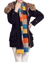ZQQ Damas invierno con capucha largo cintura de cuello de lana lazo chaqueta de algodón caliente gruesa del uno mismo , black , m