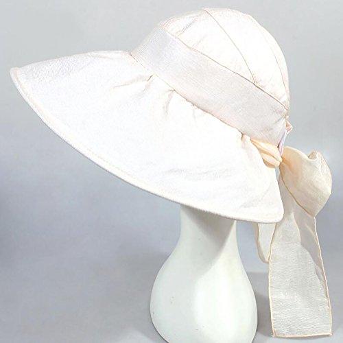 HWTYM Sun Hat Summer Women's Beach Voyage Large Wide Brim Protection UV Outdoor Sun Hat Mode Sun Hat Chaussures de randonnée Sun Hat ( Couleur : Gray-1* ) White-2*