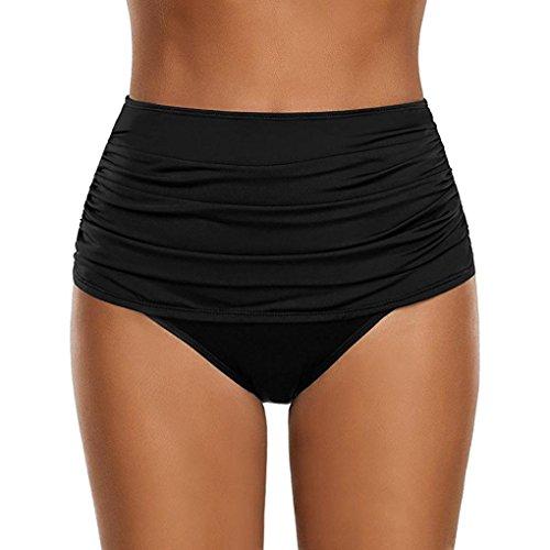 OverDose Damen Plus Größe Badehose Frauen hoch taillierte Badehose Geraffte Bikini Hosen Schwimmen Shorts Swim Shorts (Black,M)