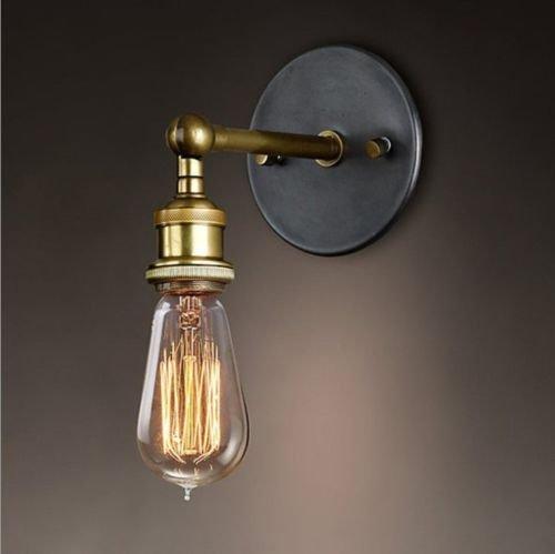 Splink Vintage lámpara de metal lámpara de pared industrial latón acabado simple...
