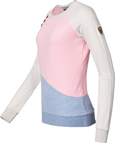 Ragwear Damen Longsleeve Sweatshirt Daria Block (Vegan Hergestellt) 3 Farben XS-XL Pink