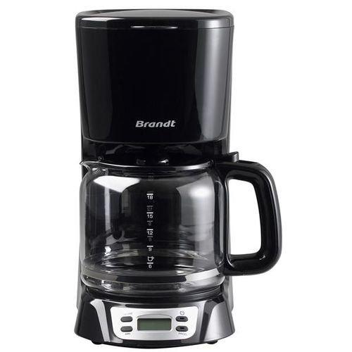 BRANDT - Cafetière électrique programmable - Capacité 18 tasses - Réservoir 1,8 litre - Verseuse en Verre - Fonction Maintien au Chaud 40 minutes - Système Anti-goutte - Écran LCD - Couleur noire