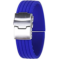 Gleader Silicone Rubber Watch Strap Band Deployment Buckle Waterproof 22mm---Blue