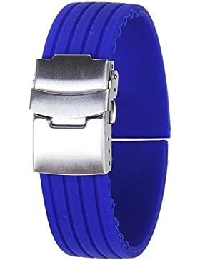 SODIAL(R) Uhr Armband Uhrarmband Blau Kautschuk Armband Band Faltschliesse Wasserdicht 22mm