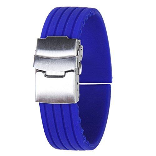 Uhr Armband Uhrarmband Blau Kautschuk Armband Band Faltschließe Wasserdicht 22mm