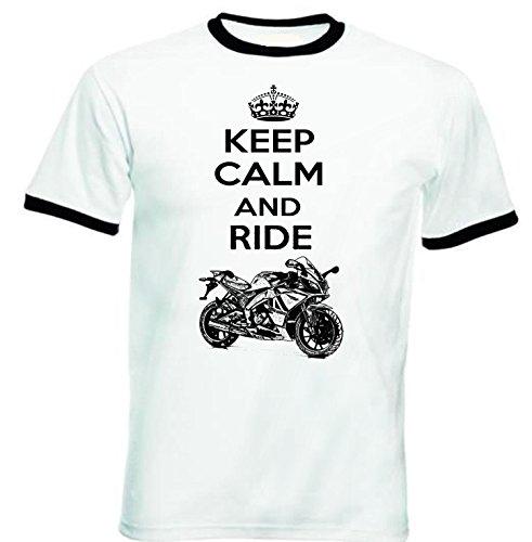 TEESANDENGINES Men's APRILIA SONIC GP 50 INSPIRED KEEP CALM P Black Ringer T-shirt Size XXLarge Sonic Ringer