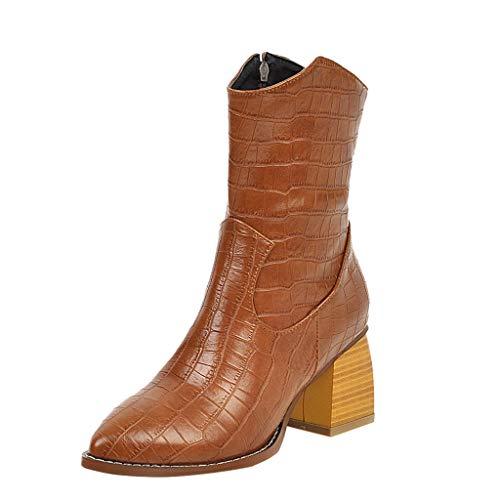 Frauen Snake Print Stiefeletten Damen Mode Slip-on Strap Starke High Heel Retro Winter Ankle Boots Booties(36 EU,Gelb)