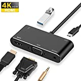 Brand Conquer USB C to HDMI VGA Hub Adapter, 5-in-14K Type C to
