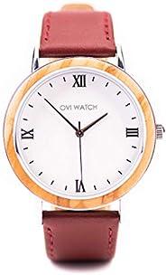 Ovi Watch - Orologi in Legno da Donna Con Cinturino In Rosso in Vera Pelle