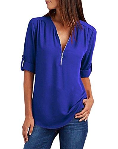 ASSKDAN Femme T-Shirts Col V Zippé Manche 3/4 Chemise Blouse Moussline de Soie (Bleu Foncé, M)