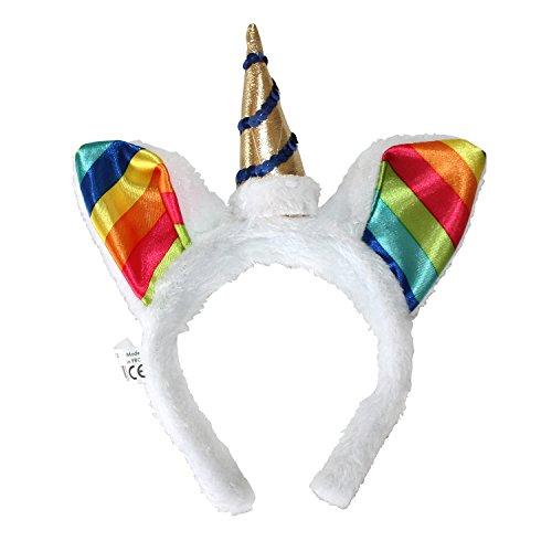 Brony Kostüm (Einhorn Haarreif in weiß mit bunten Regenbogen-Ohren, goldenem Horn und Pailletten für)