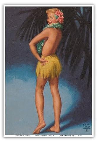 Hawaiian Pin Up Glamour Girl - Topless Marilyn Monroe in Grass Skirt Lei - Vintage Pin Up Calender Page by Earl Moran c.1951 - Hawaiian Master Art Print - 13 x 19in