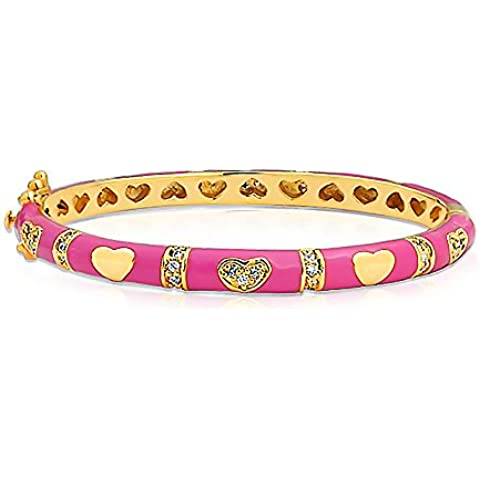 Bling Jewelry Hot Pink smalto CZ placcato oro Bambini del cuore del bambino del braccialetto del braccialetto