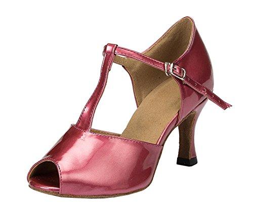 Da donna Minitoo Peep Toe per feste in pelle PU sera matrimonio sandali Latin Dance scarpe Viola (viola)