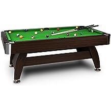 oneConcept Leeds • mesa de billar • mesa de pool • madera DM • chapa de nogal • recubrimiento verde • 16 bolas de plástico • 2 tacos • triángulo • cepillo • 2 x tizas • altura ajustable • café