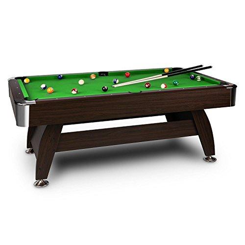 oneConcept Leeds Billardtisch 8 Spieltisch Pooltisch (Nussholz-Furnier, 132 x 82 x 244cm, interner Ballrücklauf, Zubehörset wie Kugelsatz 16-tlg., 2x Queue) grün, rot oder blau