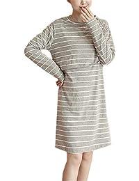 BESTHOO Embarazo Ropa Mujer Vestido Casual Suelta De Verano Manga Larga Elegante Vestido Sencillas A Rayas