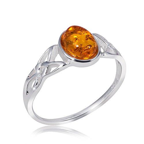 MATERIA Damen Ring keltisch 925 Sterling Silber Bernstein orange gelb Gr. 16 17 18 19 20 mm #SR-80, Ringgrößen:54 (17.2 mm Ø) (Ring 925 Silber Sterling Bernstein)
