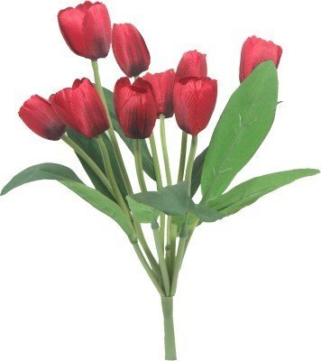 Fourwalls Artificial Tulip Bunch (9 Heads, Tall, Red)